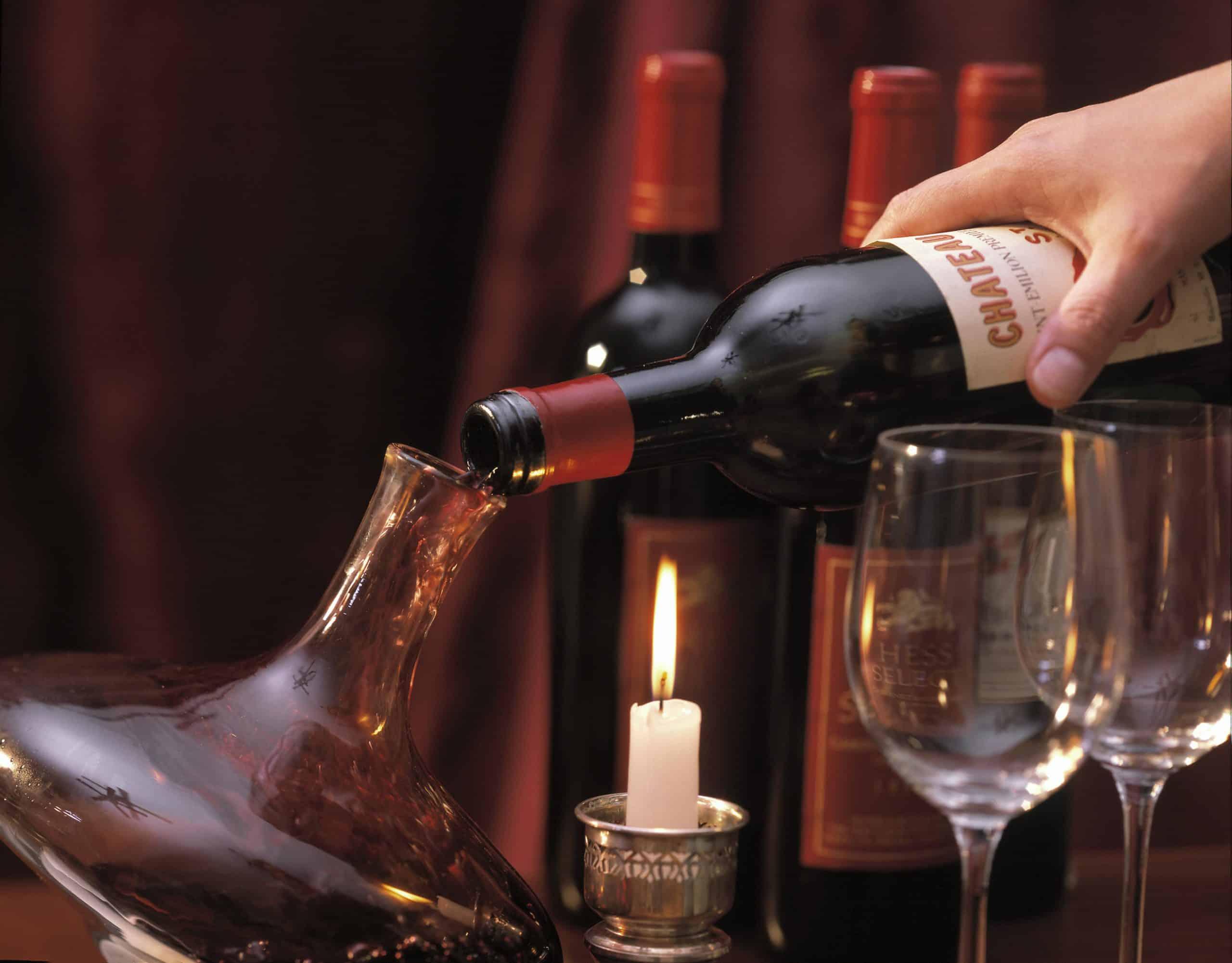 Decanting a bottle of Bordeaux