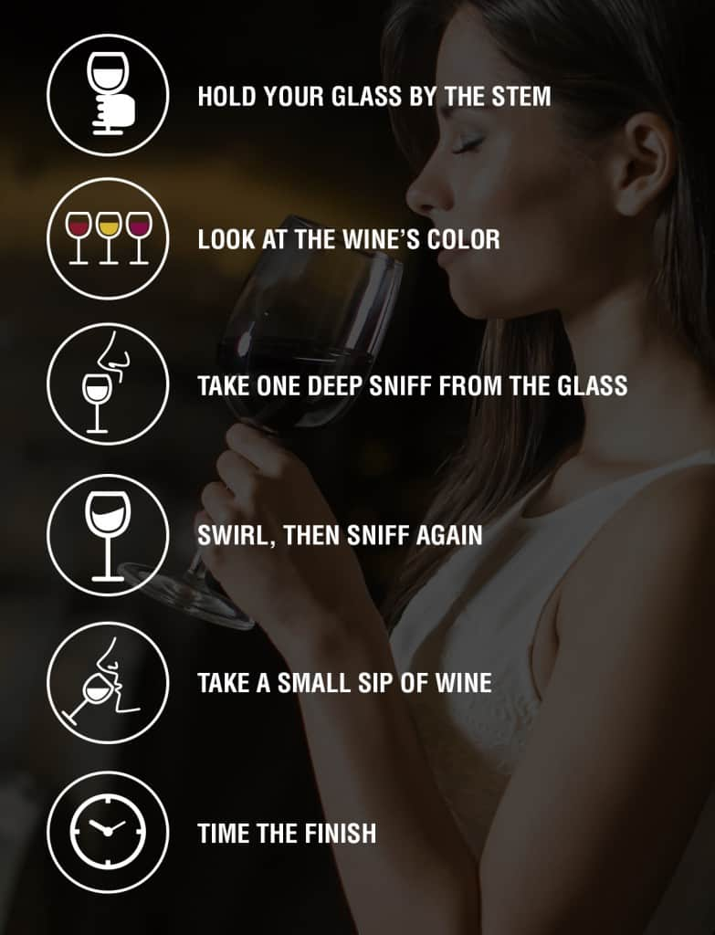 Steps for how to taste fine wine