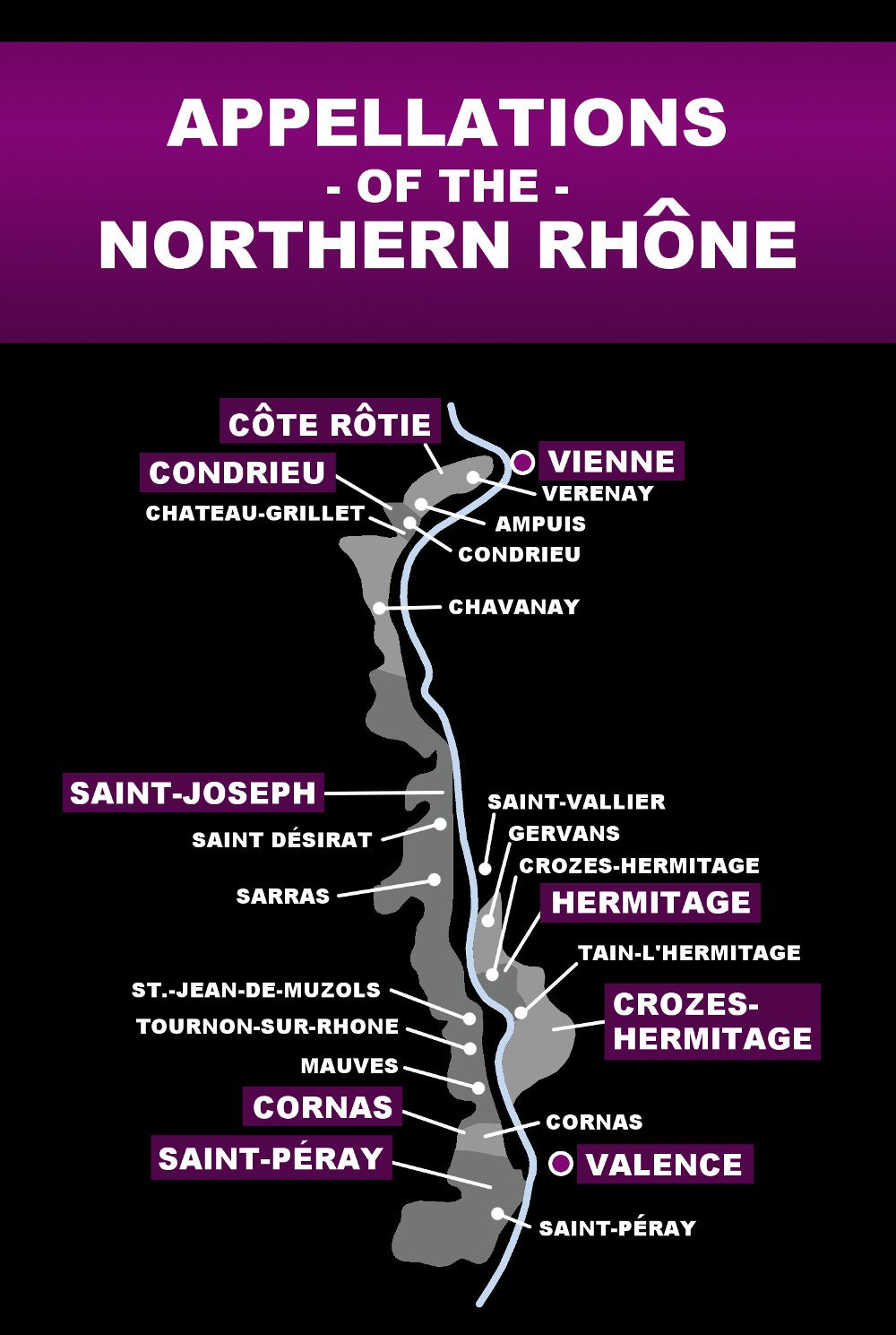 Map of the Northern Rhone Valley
