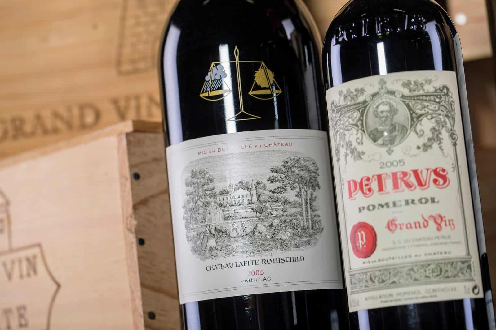 Left bank vs. right bank Bordeaux bottles and crates