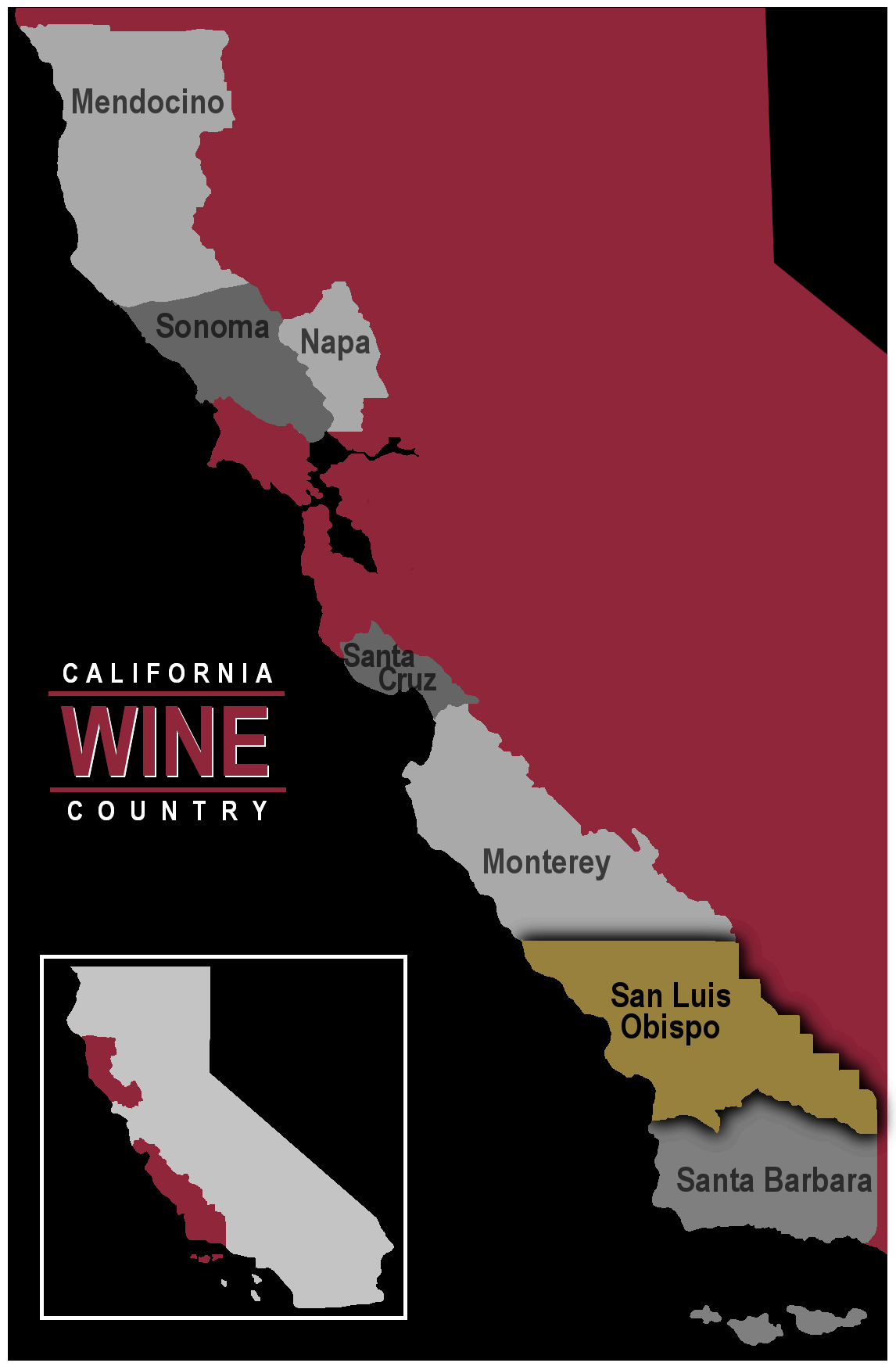 Map of California wine region San Luis Obispo