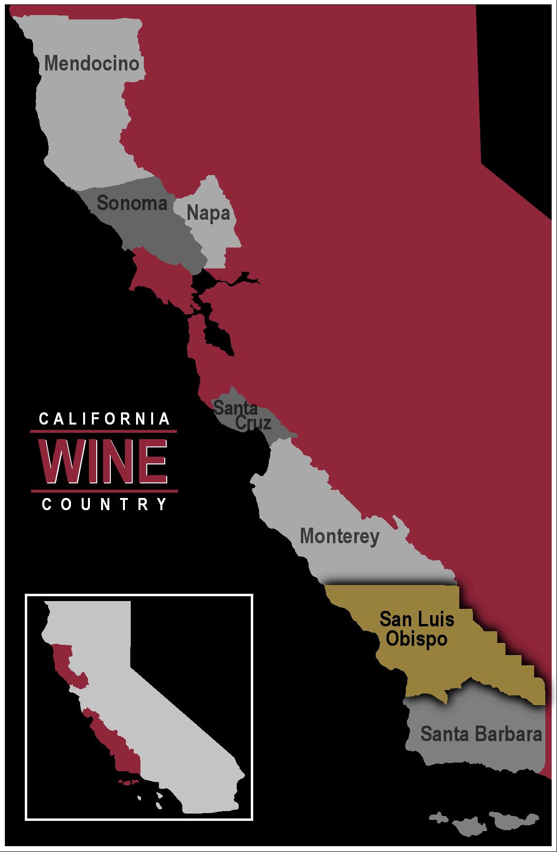 Map of California wine region San Luis Obispo