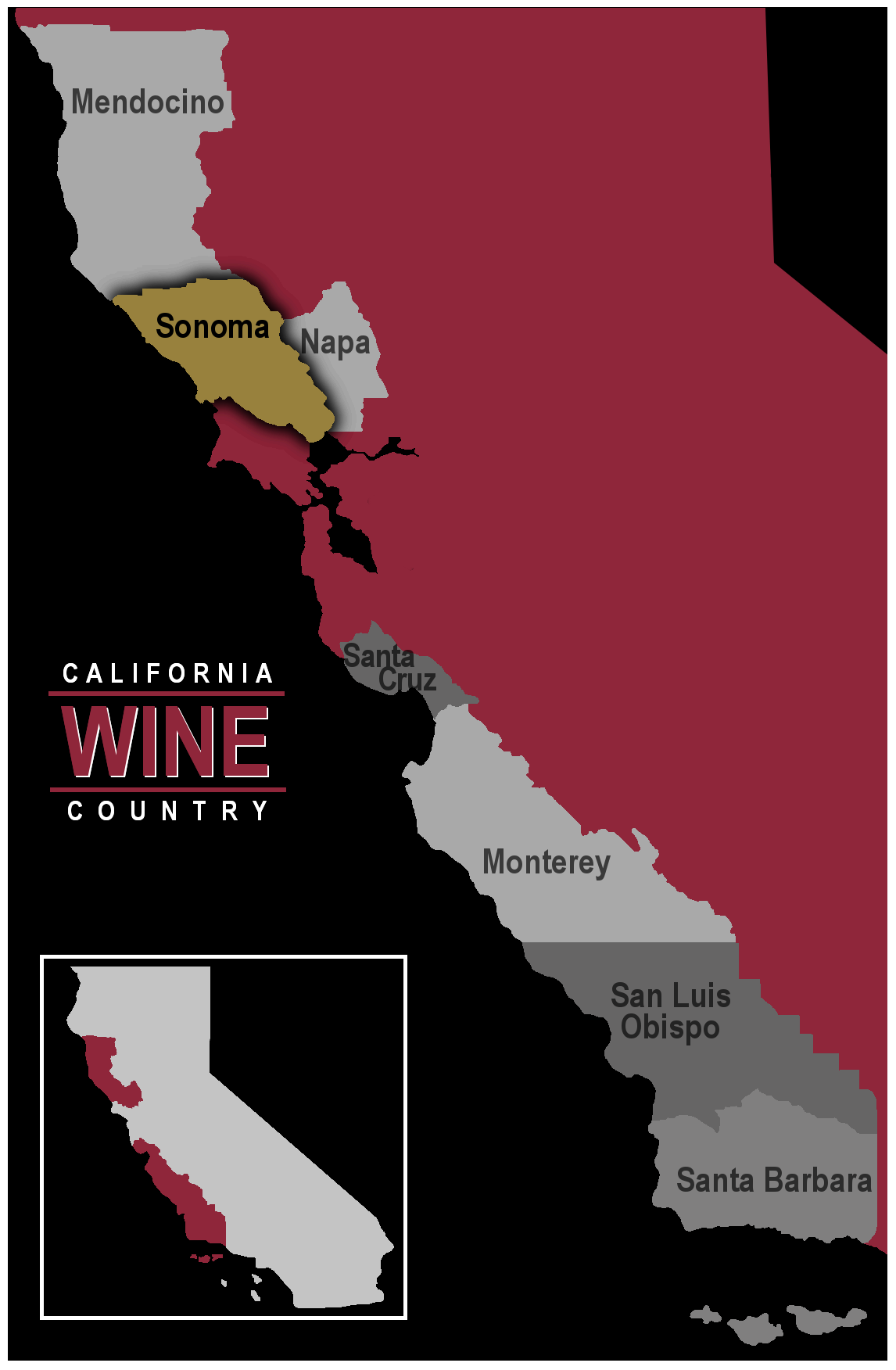 Map of California wine region Sonoma