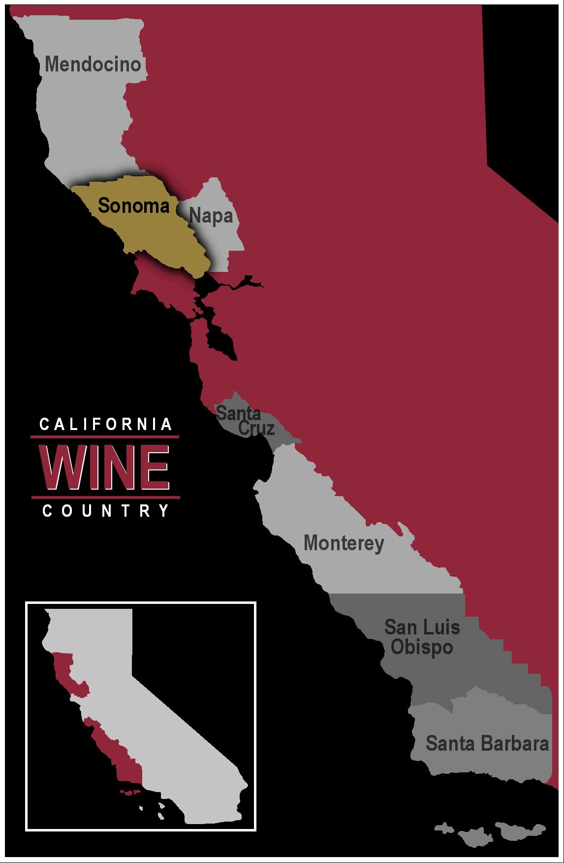 Map of California wine region Sonoma