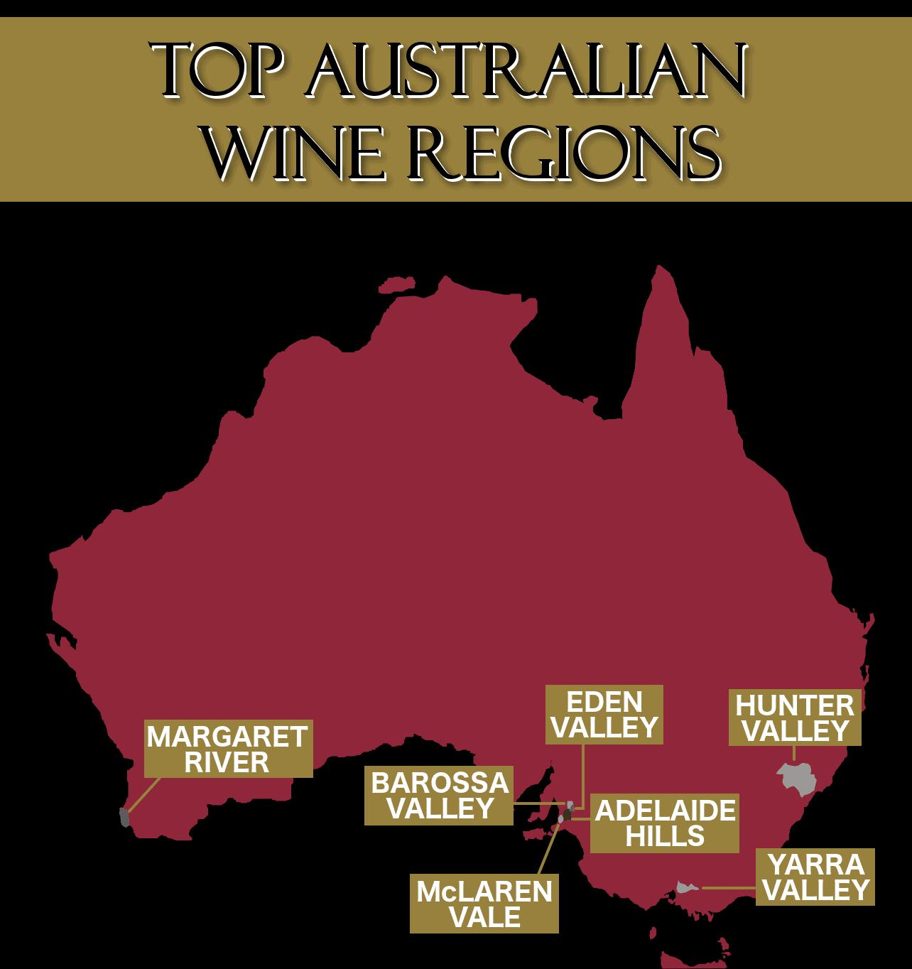 Map of wine regions in Australia