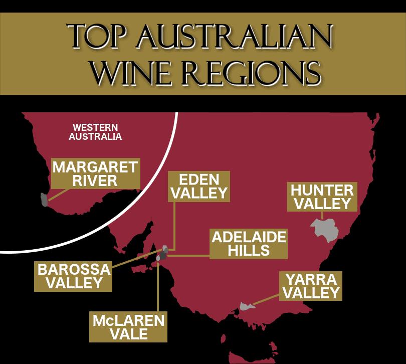 Zoomed in map of Australian wine regions