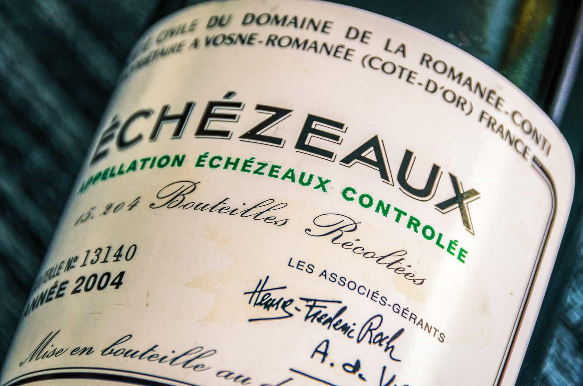 Closeup of a label of Domaine de la Romanée-Conti Échezeaux