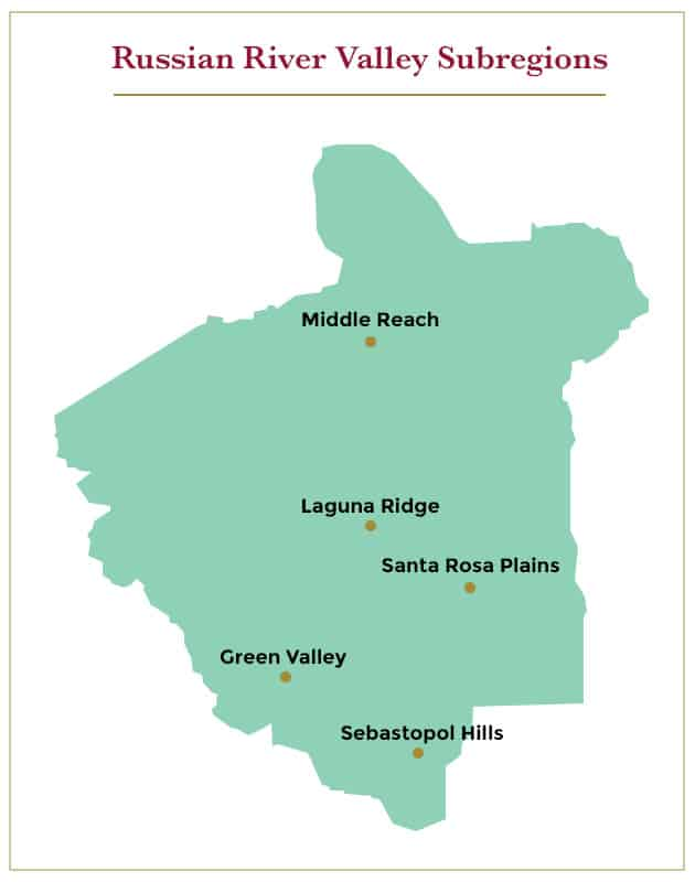 The Russian River Valley has five main subregions.