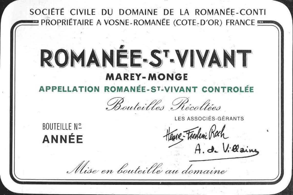 Domaine de la Romanée-Conti Romanée-St-Vivant wine label