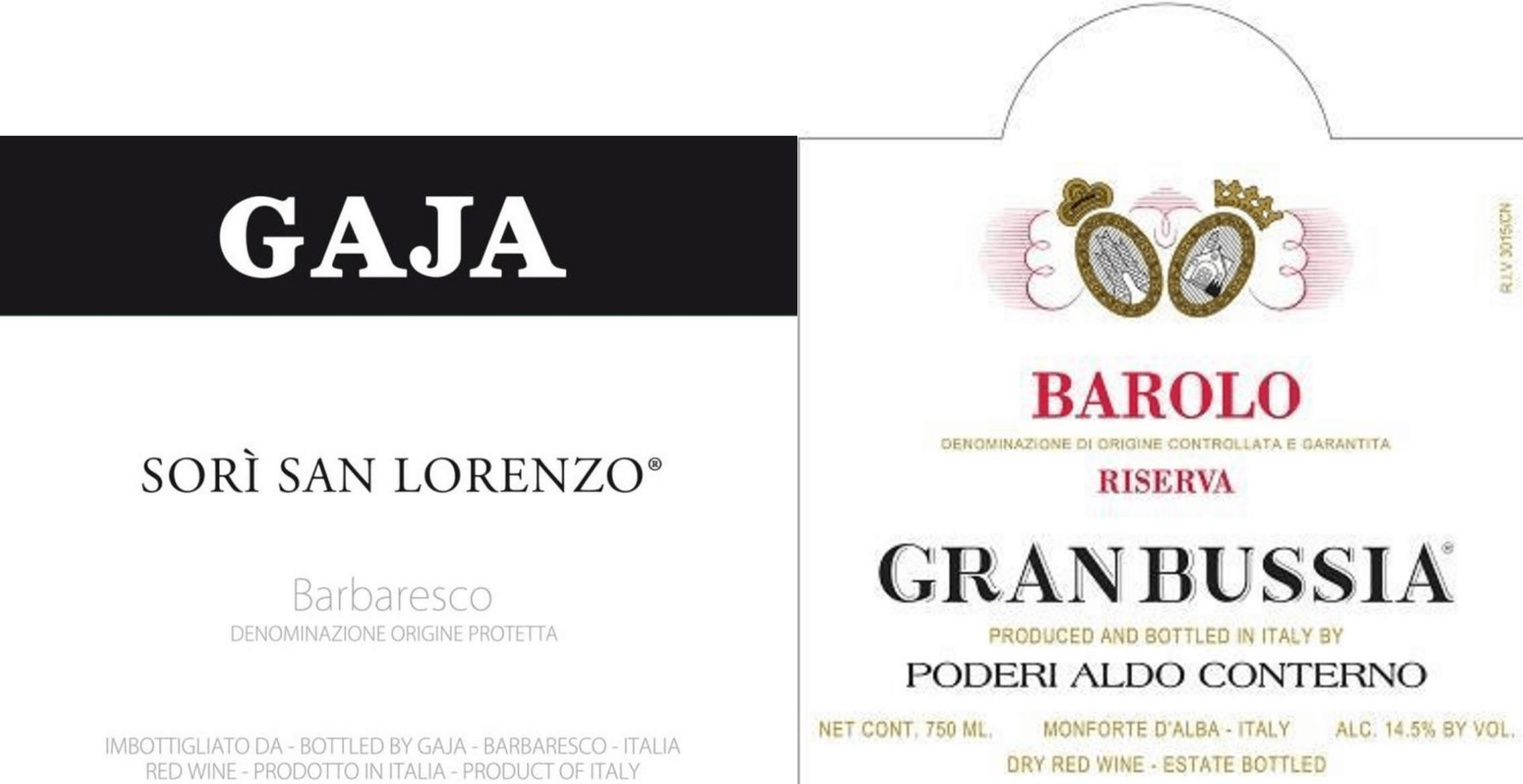 Labels from Barolo and Barbaresco wines