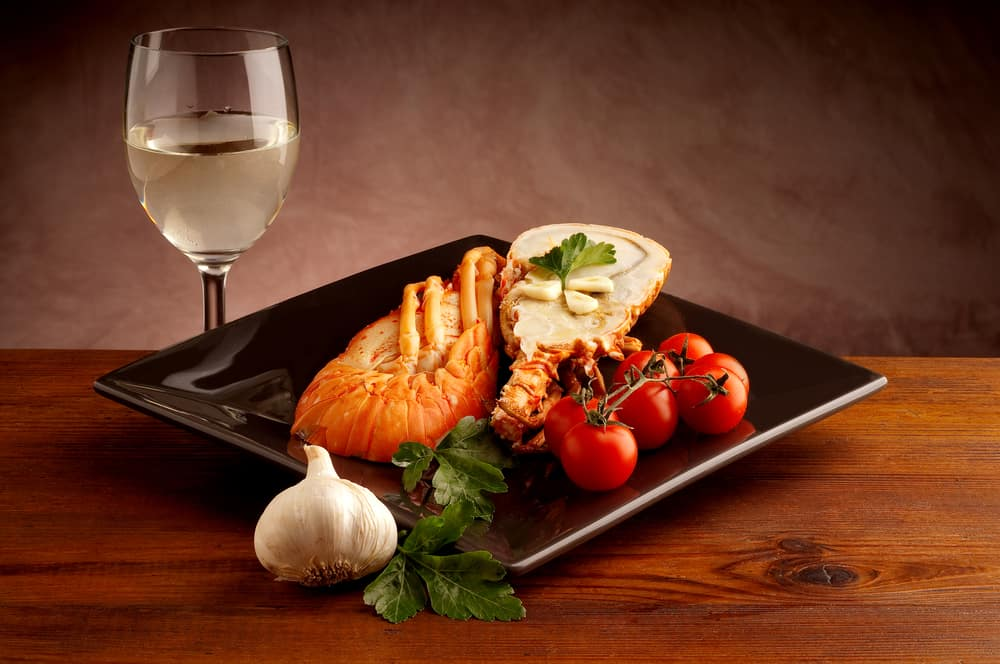 wine served with lobster and cherry tomatoes